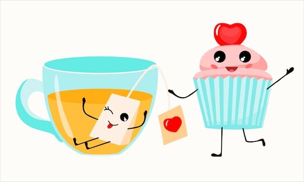 Colazione kawaii. tè con una bustina di tè, torta cupcake.