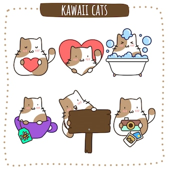 Gatti marroni kawaii Vettore Premium