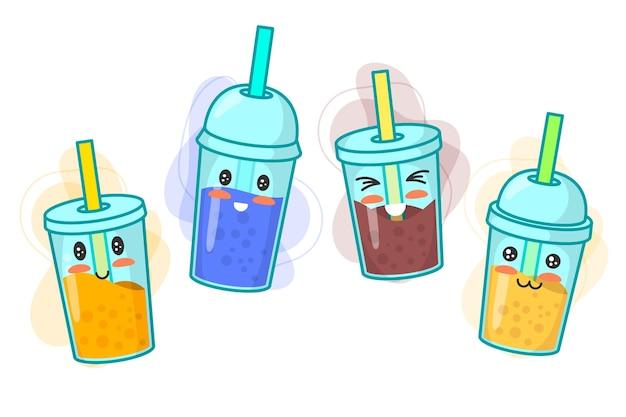 Design della collezione di bubble tea kawaii