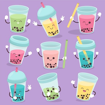Collezione di bubble tea kawaii