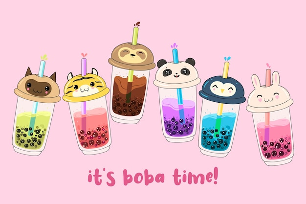 Kawaii bubble tea isolato sul rosa