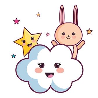 Coniglietto kawaii con nuvole e stelle