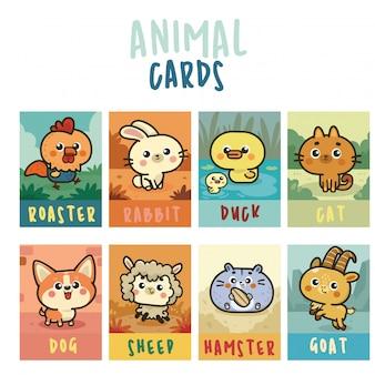 Collezione di carte kawaii con simpatici animali set di adesivi