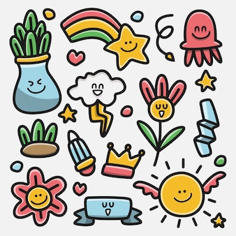 Kawaii cartoon doodle design illustrazione