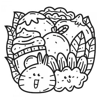 Modello di disegno di doodle del fumetto di kawaii