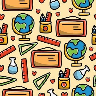Kawaii cartoon doodle seamless pattern design