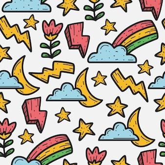 Kawaii cartoon doodle seamless pattern