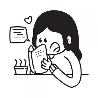 Modello di doodle del fumetto kawaii