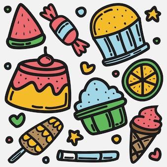 Illustrazione di doodle di cibo del fumetto kawaii