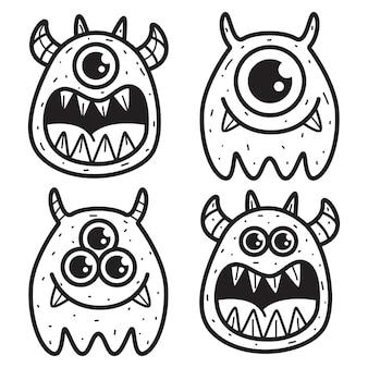 Illustrazione di disegno di doodle del mostro del fumetto di kawaii