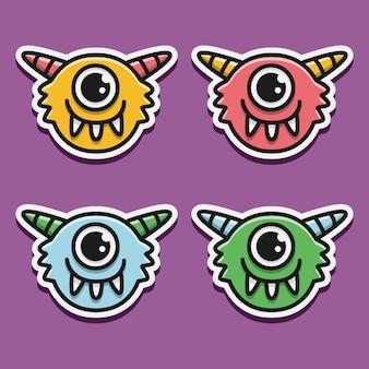 Kawaii cartoon monster doodle illustrazione