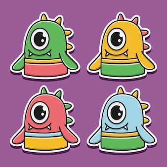 Kawaii cartoon monster doodle illustrazione