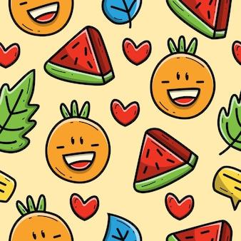 Kawaii cartoon arancia e anguria doodle seamless pattern design