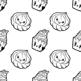 Personaggi di doodle di stile del fumetto di kawaii, modello senza cuciture divertente. emoticon icona faccia.