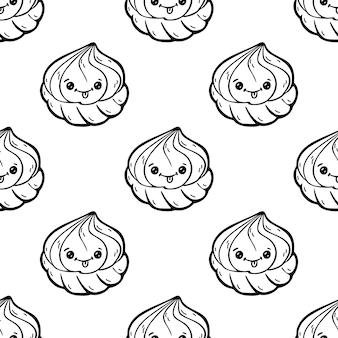 Zefiro di personaggi dei cartoni animati di doodle di stile kawaii, modello senza cuciture divertente. emoticon icona faccia. illustrazione disegnata a mano dell'inchiostro nero isolata su fondo bianco.