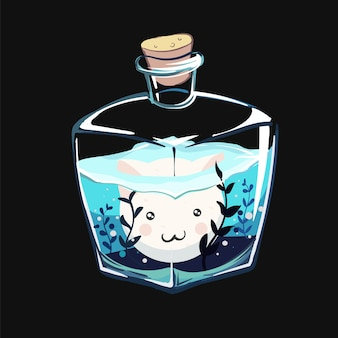 Gatto kawaii in un acquario di bottiglia