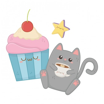 Kawaii di cat cartoon