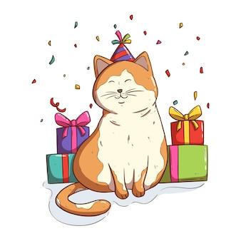 Gatto kawaii festeggia una festa di compleanno con confezione regalo