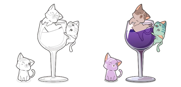 Personaggi di gatti kawaii e pagina da colorare di vino per bambini