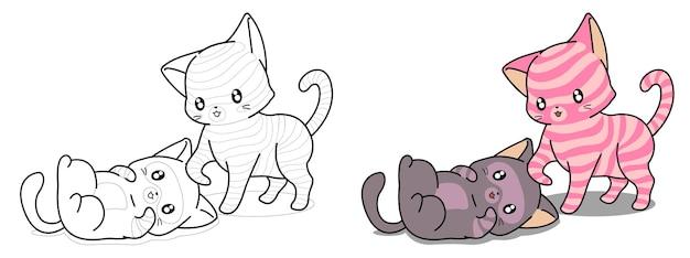 Il gatto kawaii si prende cura della pagina da colorare dei cartoni animati per bambini