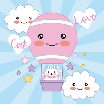 Kawaii cat love air balloon nuvole stelle decorazione