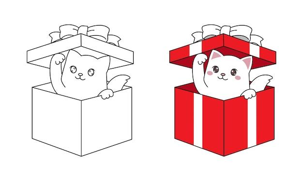 Il gatto kawaii sbircia dall'interno della confezione regalo per il regalo di natale. linea arte disegnata a mano per bambini da colorare pagina.
