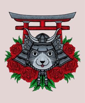 Testa di samurai gatto kawaii con fiore rosa e cancello torii