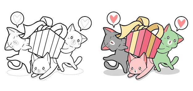 I gatti kawaii stanno tenendo la pagina da colorare dei cartoni animati di scatola regalo per i bambini