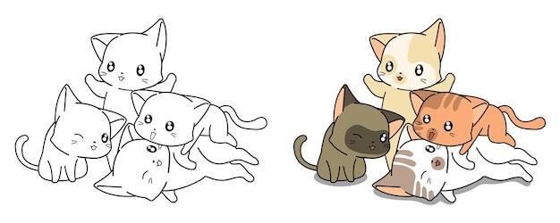 Pagina da colorare di cartoni animati di gatti kawaii per bambini