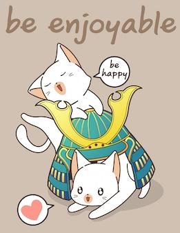 Illustrazione di casco kawaii gatti e samurai
