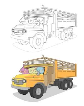 Gatti kawaii nel cartone animato camion facilmente pagina da colorare per i bambini Vettore Premium