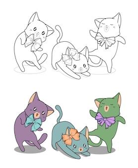 Gatti kawaii con fiocco cartoon facilmente pagina da colorare per bambini