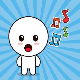 Nota musicale del personaggio dei cartoni animati di kawaii