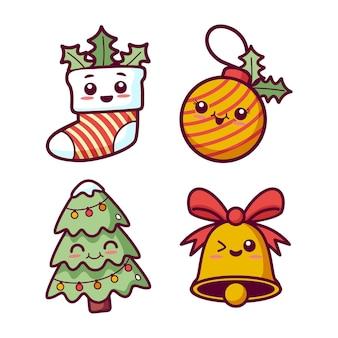 Collezione natalizia kawaii Vettore Premium