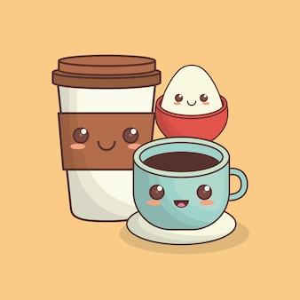 Tazza di caffè kawaii e uovo