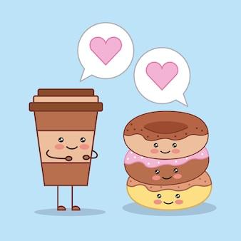Coppa di caffè kawaii e cartoni animati di ciambelle dolci