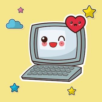 Immagine di wink del computer kawaii