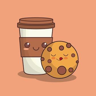 Biscotto kawaii e tazza di caffè