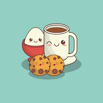 Biscotti kawaii e tazza di caffè