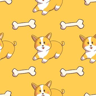 Kawaii corgi cane e osso in seamless con stile doodle su sfondo giallo