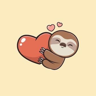 Illustrazione della mascotte di bradipo animale sveglio di kawaii