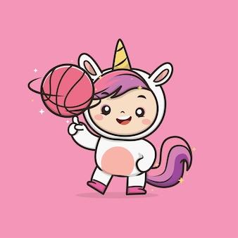 Illustrazione della mascotte dell'icona dell'unicorno animale sveglio di kawaii