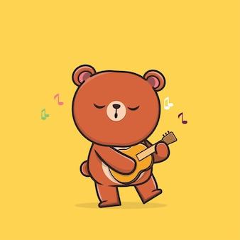 Panda della fauna selvatica animale sveglio di kawaii che gioca l'illustrazione della mascotte dell'icona di ukulele