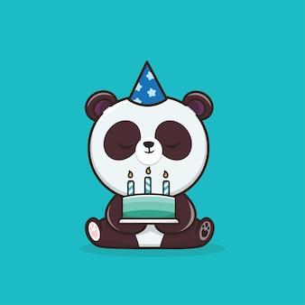Panda della fauna selvatica animale sveglio di kawaii con l'illustrazione della mascotte dell'icona della torta di compleanno