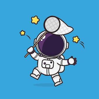 Illustrazione sveglia della mascotte dell'icona dell'astronauta di kawaii