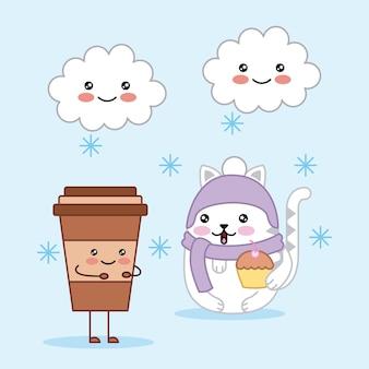 Gatto sveglio kawaii con tazza di caffè e nuvole cartoon magia