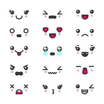 Insieme dell'icona di emoticon di facce carine kawaii. personaggi ed emoji, adorabili icone dei cartoni animati