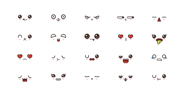 Emoticon sorridenti di facce carine kawaii. emoji giapponese
