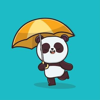 Kawaii cute icon panda con l'illustrazione della mascotte dell'ombrello