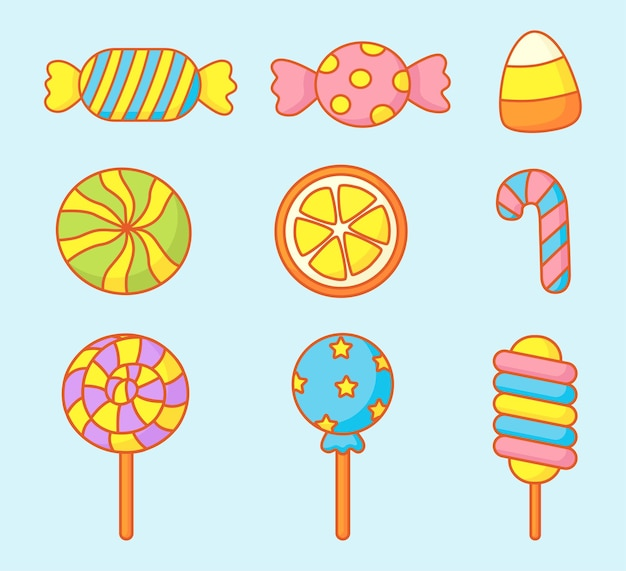 Kawaii cute pastel set di dolci caramelle dessert con diversi tipi isolati su sfondo blu per bar o ristorante.